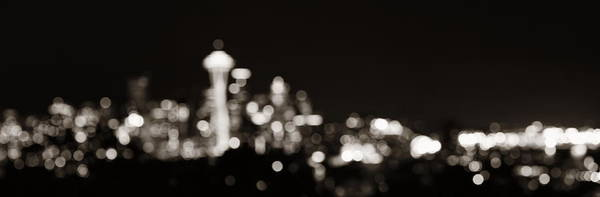 Photograph - Seattle City Skyline Night by Songquan Deng