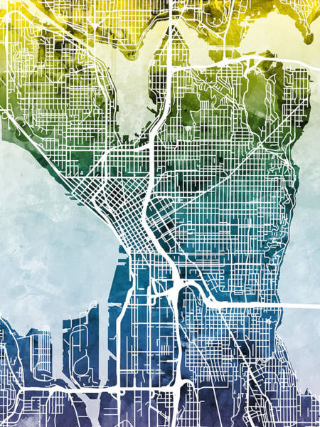 Streets Digital Art - Seattle Washington Street Map by Michael Tompsett
