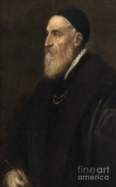 Titian Painting - Self Portrait by Titian