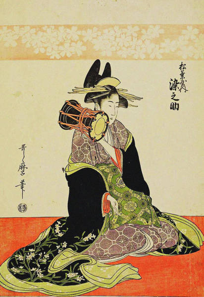 Kansai Painting - Series Of Courtesans Of The Matsubaya As Five Musicians  by Kitagawa Utamaro