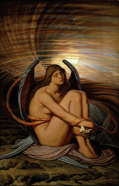 Wall Art - Painting - Soul In Bondage by Elihu Vedder