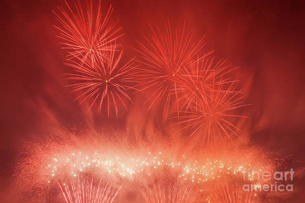 Fireworks Show Wall Art - Photograph - Spectacular Fireworks Show Light Up The Sky. New Year Celebration. by Michal Bednarek
