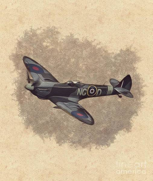 Halifax Wall Art - Painting - Spitfire - Wwii Fighter by Esoterica Art Agency
