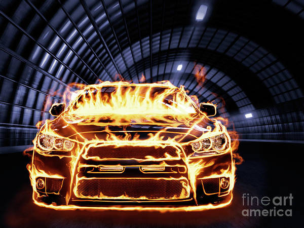 Drag Racing Photograph - Sports Car In Flames by Oleksiy Maksymenko