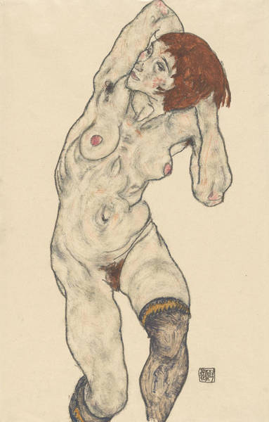 Austrian Drawing - Standing Nude In Black Stockings by Egon Schiele