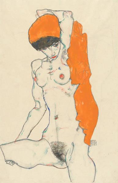 Austrian Wall Art - Drawing - Standing Nude With Orange Drapery by Egon Schiele