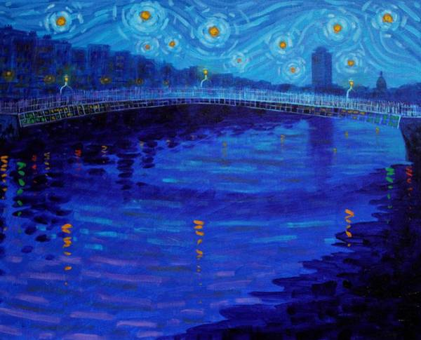 Monochromatic Painting - Starry Night In Dublin by John  Nolan