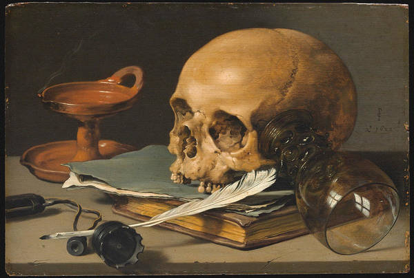 Food Groups Painting - Still Life With A Skull And A Writing Quill by Pieter Claesz