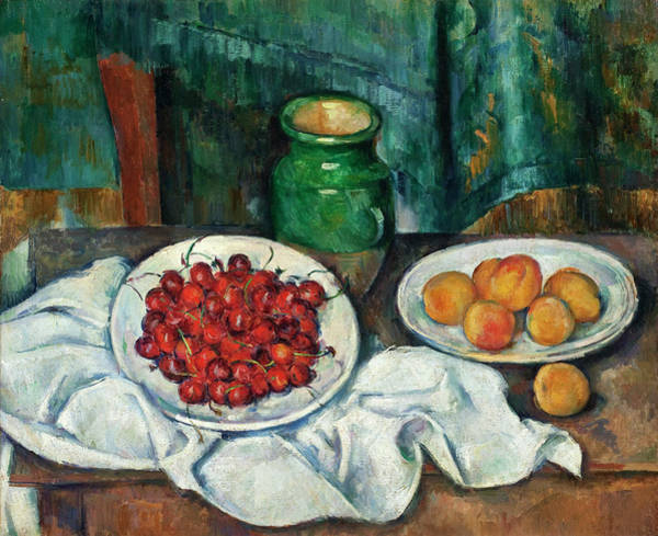 Apple Peel Wall Art - Painting - Still Life With Cherries And Peaches by Paul Cezanne