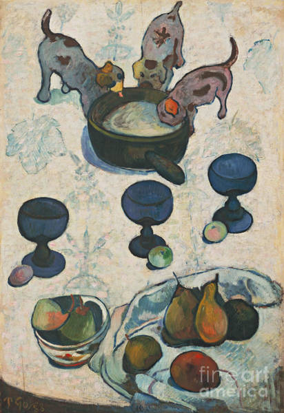 Painting - Still Life With Three Puppies by Paul Gauguin