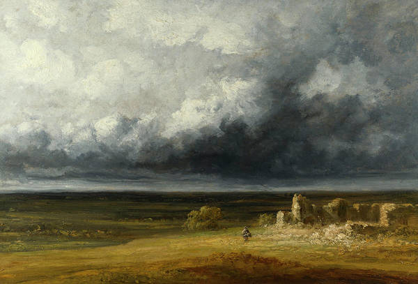 Barren Painting - Stormy Landscape With Ruins On A Plain by Georges Michel