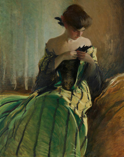 Wall Art - Painting - Study In Black And Green by John White Alexander
