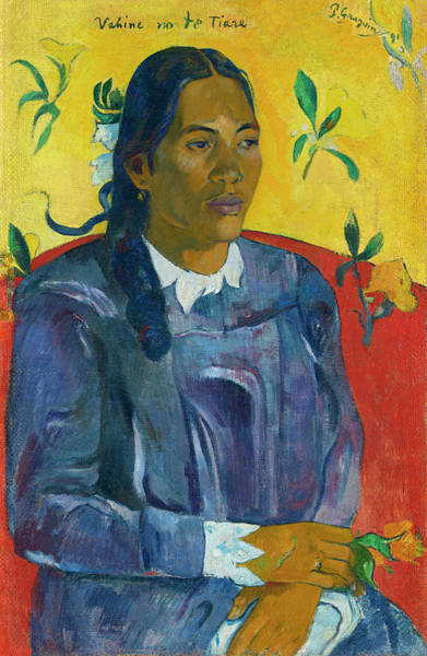 Wall Art - Painting - Tahitian Woman With A Flower by Paul Gauguin
