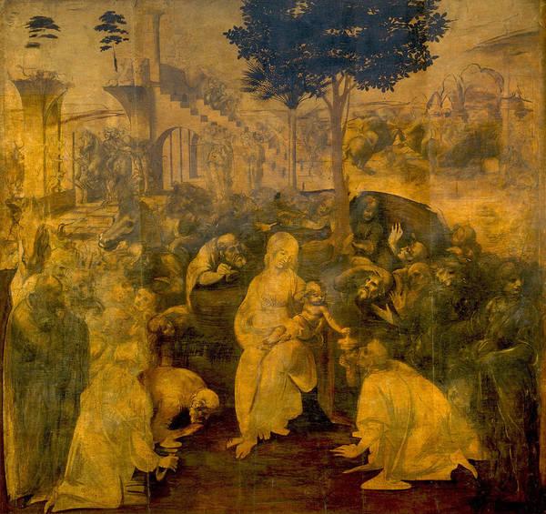 Redeemer Wall Art - Painting - The Adoration Of The Magi by Leonardo da Vinci
