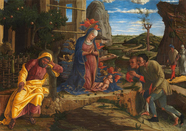 Redeemer Wall Art - Painting - The Adoration Of The Shepherds by Andrea Mantegna