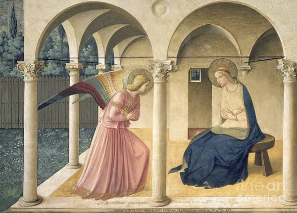 Immaculate Conception Wall Art - Painting - The Annunciation by Fra Angelico