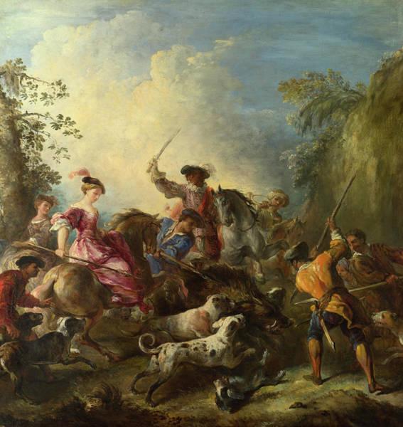 Wall Art - Painting - The Boar Hunt by Joseph Parrocel