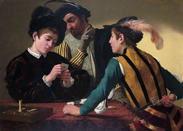 Gaming Painting - The Cardsharps by Caravaggio