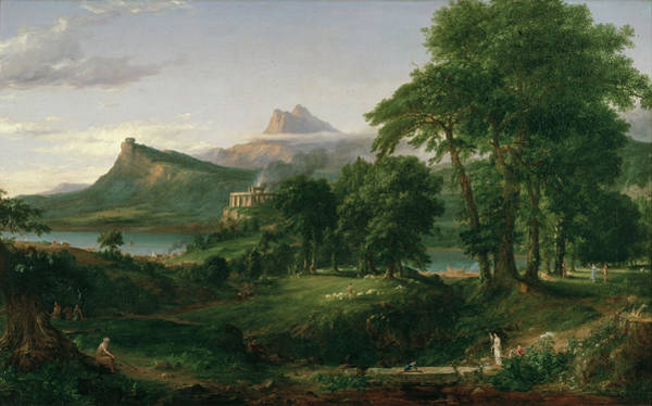 Painting - The Course Of Empire The Arcadian Or Pastoral State by Thomas Cole