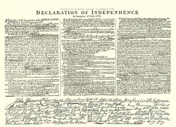 Usa Drawing - The Declaration Of Independence by American School