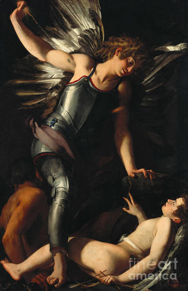 Wall Art - Painting - The Divine Eros Defeats The Earthly Eros by Giovanni Baglione