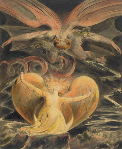 Inferno Painting - The Great Red Dragon And The Woman Clothed With The Sun by William Blake