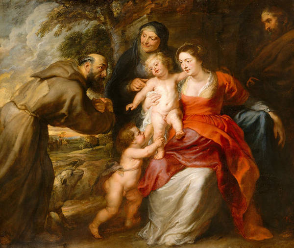 Painting - The Holy Family With Saints Francis And Anne And The Infant Saint John The Baptist by Peter Paul Rubens