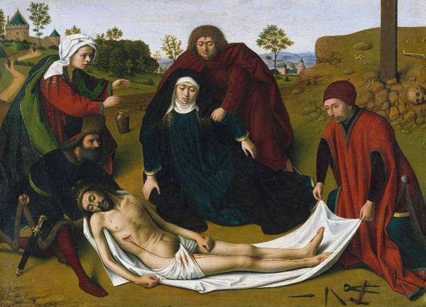 Redeemer Wall Art - Painting - The Lamentation by Petrus Christus