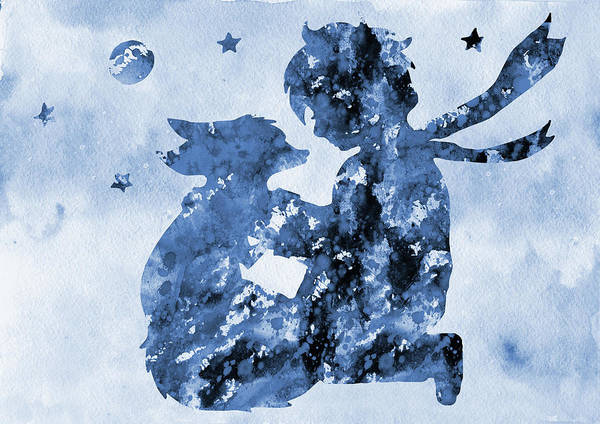 Wall Art - Digital Art - The Little Prince-blue by Erzebet S