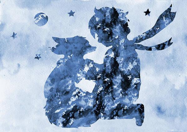 Wall Art - Digital Art - The Little Prince-blue by Erzebet S