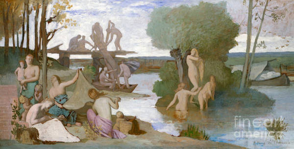 Raft Wall Art - Painting - The River by Pierre Puvis de Chavannes