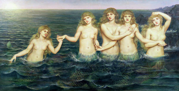 Wall Art - Painting - The Sea Maidens by Evelyn De Morgan