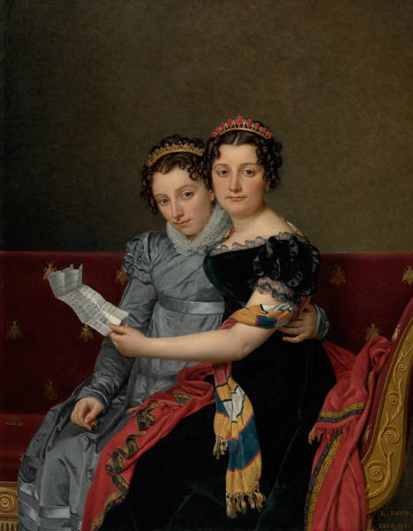 Painting - The Sisters Zenaide And Charlotte Bonaparte by Jacques-Louis David
