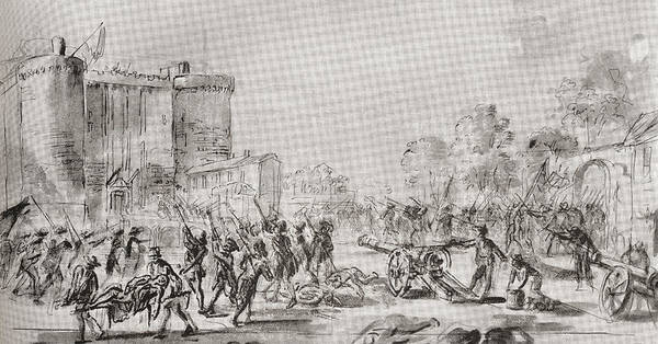 Wall Art - Drawing - The Storming Of The Bastille, Paris by Vintage Design Pics