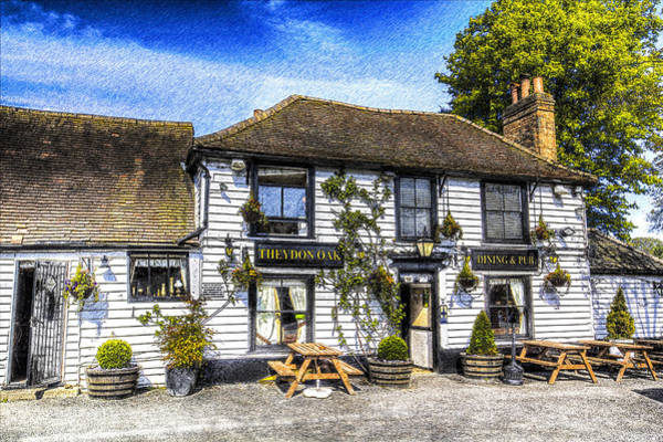 Epping Wall Art - Photograph - The Theydon Oak Pub Art by David Pyatt