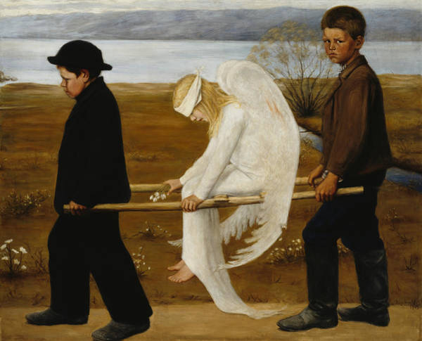Painting - The Wounded Angel by Hugo Simberg