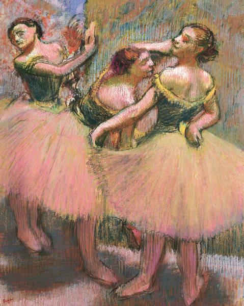 Impressionist Drawing - Three Dancers by Edgar Degas