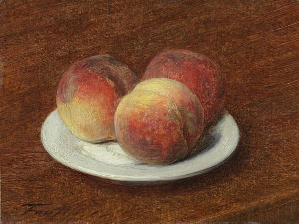 Painting - Three Peaches On A Plate by Henri Fantin-Latour