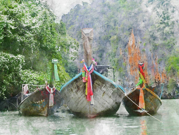 Photograph - Traditional Long Boat In Thailand by Brandon Bourdages