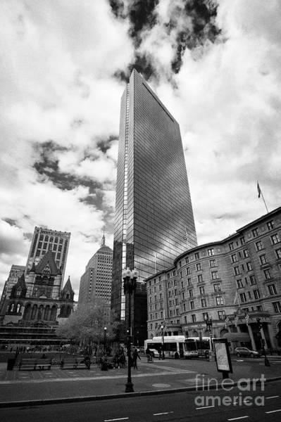 Wall Art - Photograph - trinity church john hancock tower and fairmont copley plaza hotel copley square Boston USA by Joe Fox