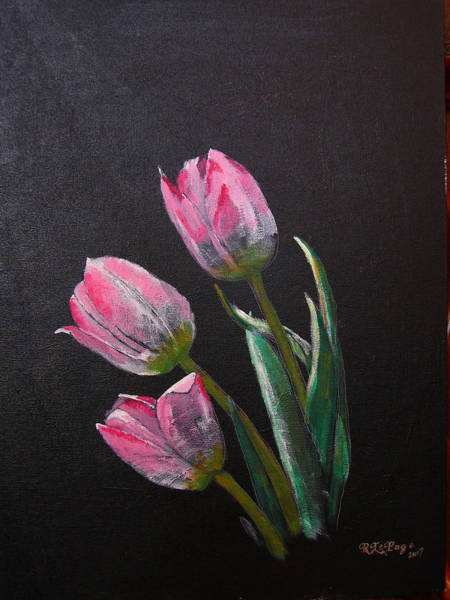 Painting - 3 Tulips by Richard Le Page