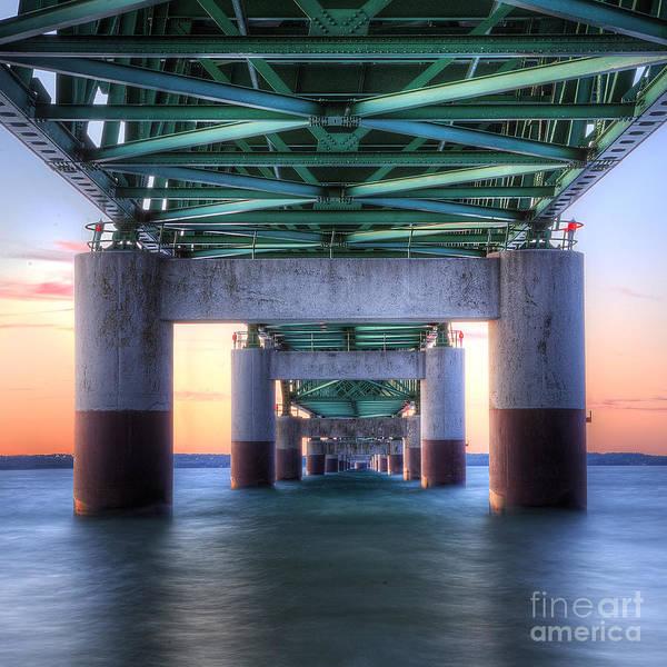 Upper Peninsula Wall Art - Photograph - Under The Mackinac Bridge by Twenty Two North Photography