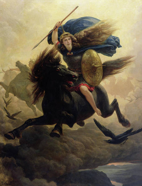 God Of War Wall Art - Painting - Valkyrie by Peter Nicolai Arbo