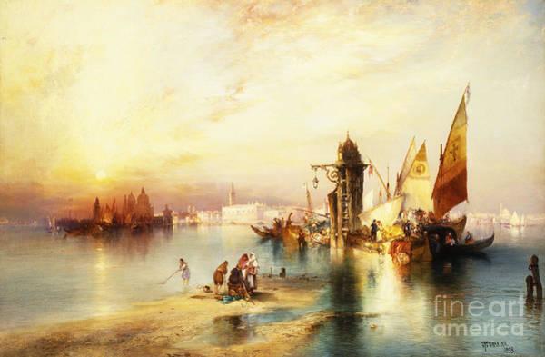 Sailboat Sunset Wall Art - Painting - Venice by Thomas Moran