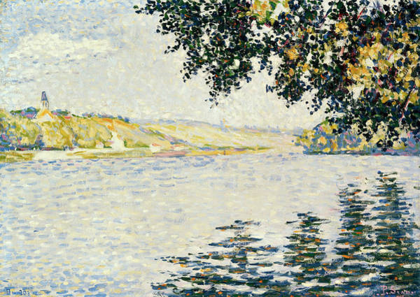Azure Painting - View Of The Seine At Herblay by Paul Signac