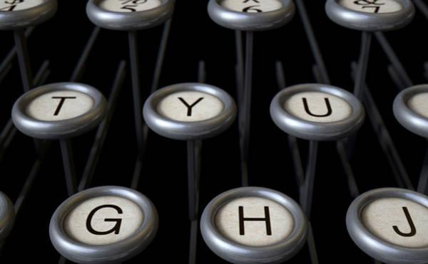 Dirty Digital Art - Vintage Typewriter Keys Close Up by Allan Swart
