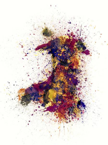 Digital Art - Wales Paint Splashes Map by Michael Tompsett