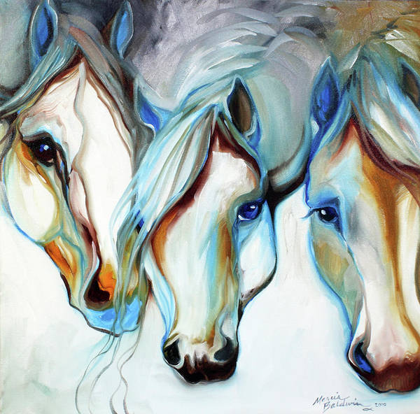 Painting - 3 Wild Horses In Abstract by Marcia Baldwin