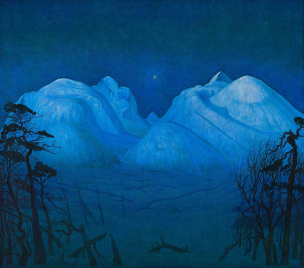 Winter Night In The Mountains Art Print