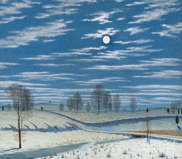 Full Moon Painting - Winter Scene In Moonlight by Henry Farrer